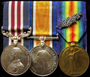 Military Medal, British War Medal and Victory Medal with MiD Oak Leaf