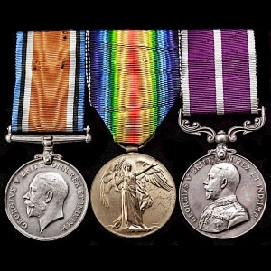 The British War Medal, Victory Medal and Meritorious Service Medal.